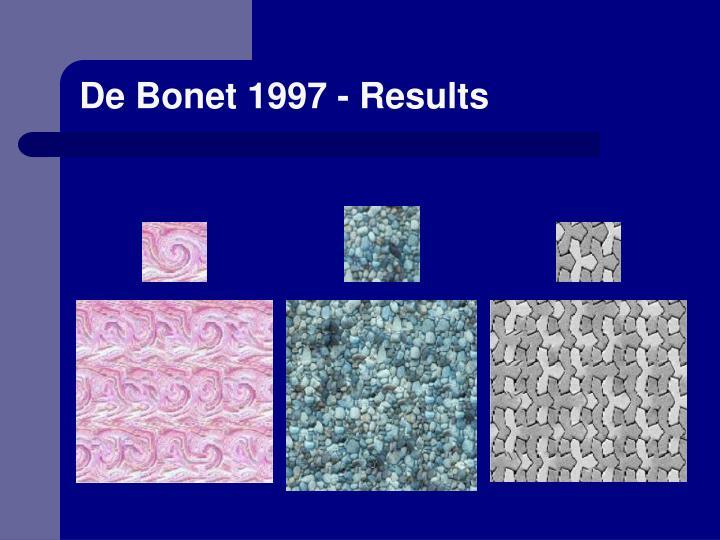 De Bonet 1997 - Results