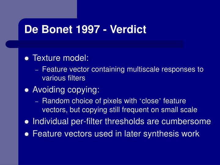 De Bonet 1997 - Verdict
