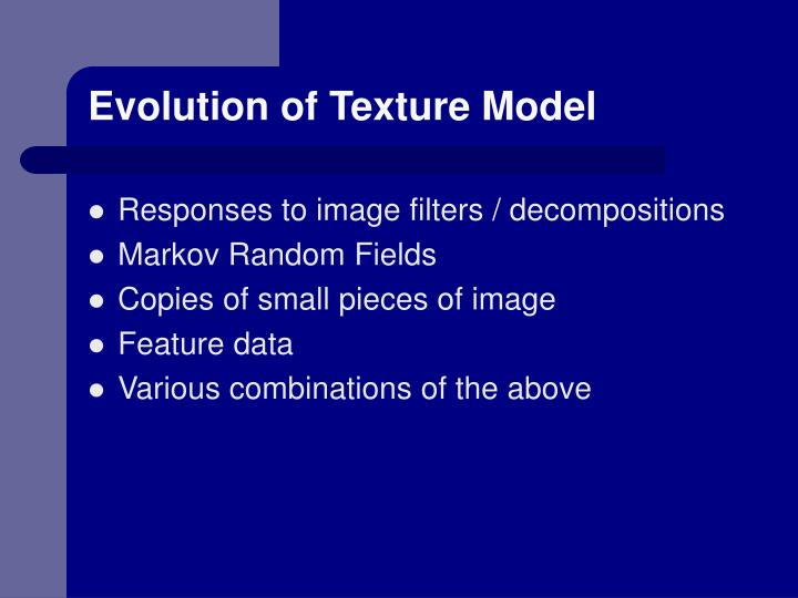 Evolution of Texture Model