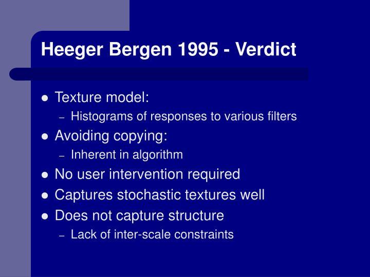 Heeger Bergen 1995 - Verdict
