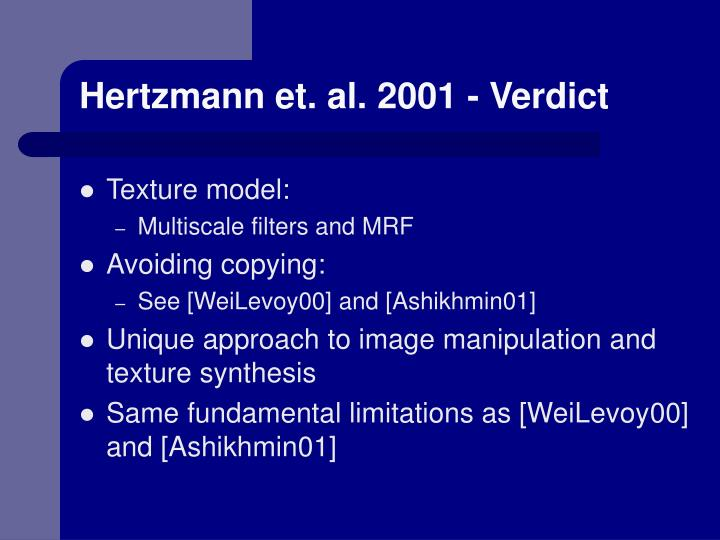 Hertzmann et. al. 2001 - Verdict