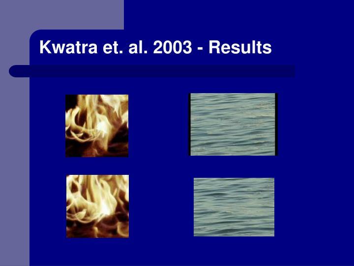 Kwatra et. al. 2003 - Results