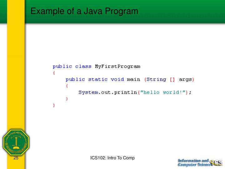 Example of a Java Program