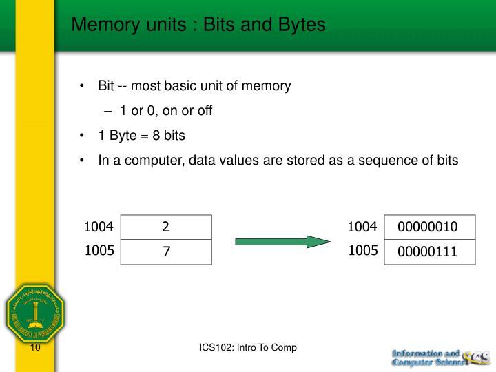 Memory units : Bits and Bytes