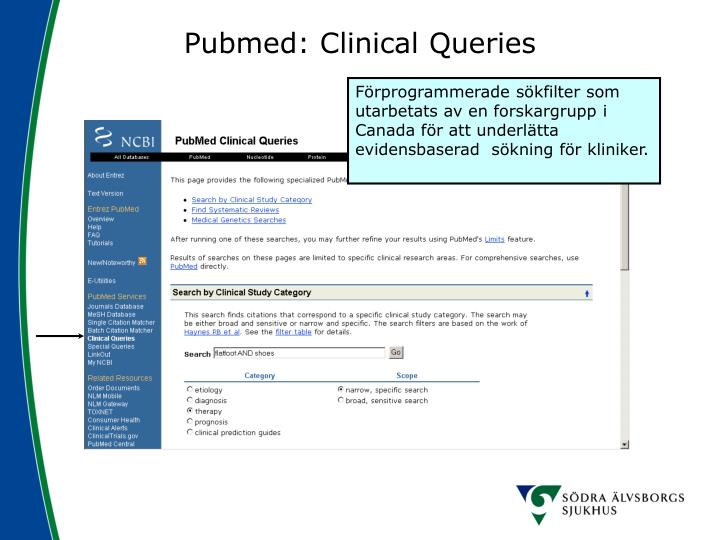 Pubmed: Clinical Queries