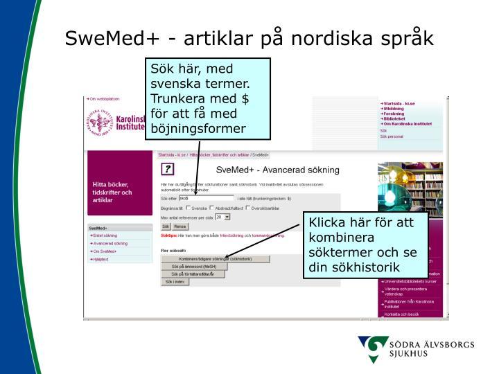 SweMed+ - artiklar på nordiska språk