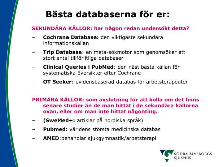 Bästa databaserna för er: