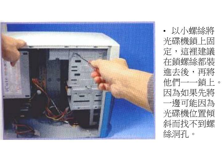 以小螺絲將光碟機鎖上固定,這裡建議在鎖螺絲都裝進去後,再將他們一一鎖上。因為如果先將一邊可能因為光碟機位置傾斜而找不到螺絲洞孔。