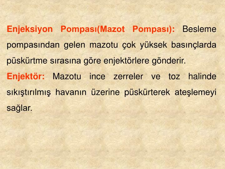 Enjeksiyon Pompas(Mazot Pompas):