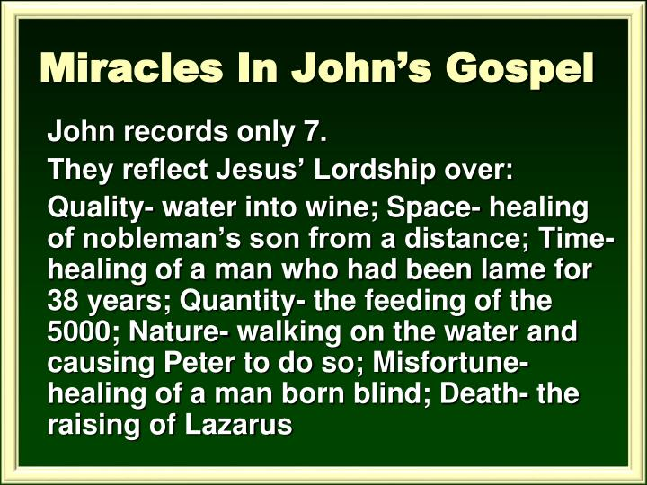 Miracles In John's Gospel