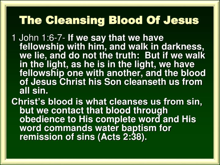 The Cleansing Blood Of Jesus