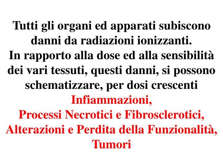 Tutti gli organi ed apparati subiscono danni da radiazioni ionizzanti.