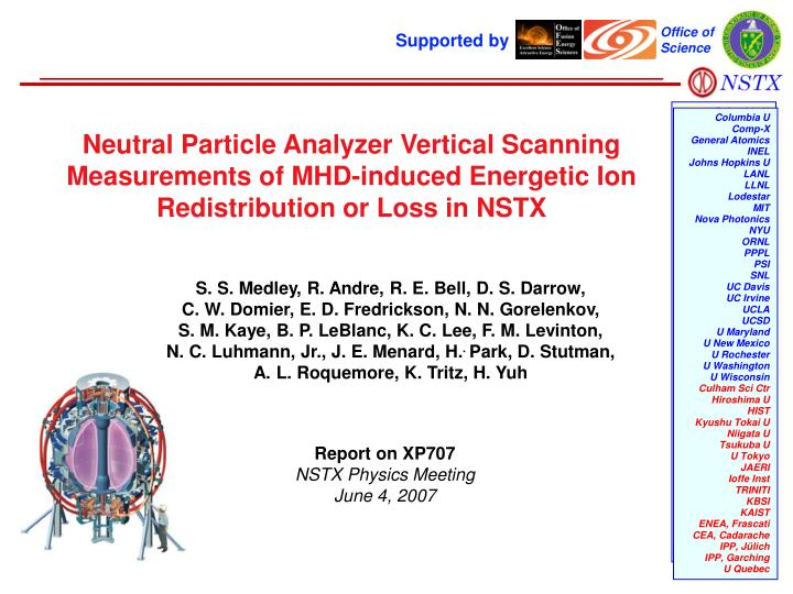Neutral Particle Analyzer Vertical Scanning Measurements of MHD-induced Energetic Ion Redistribution...
