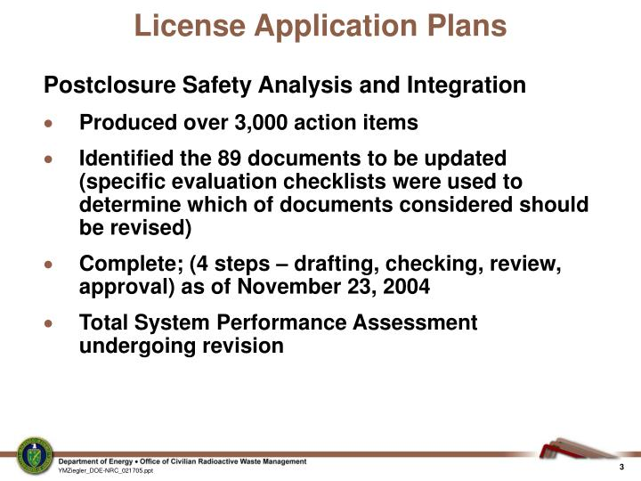 License application plans