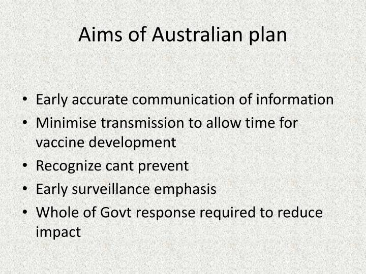 Aims of Australian plan