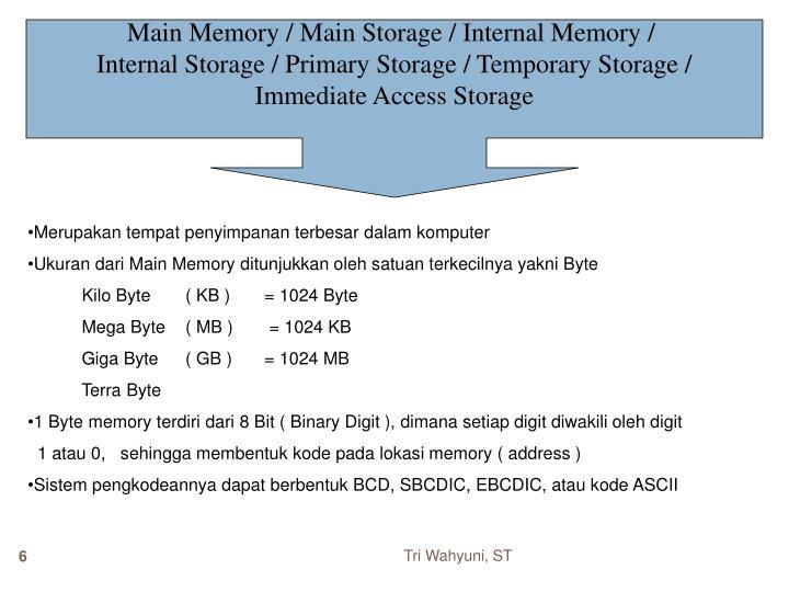 Main Memory / Main Storage / Internal Memory /