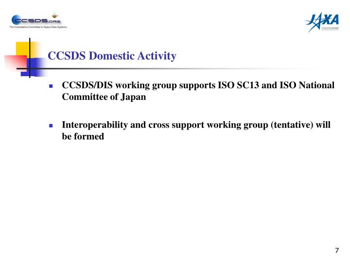CCSDS Domestic Activity