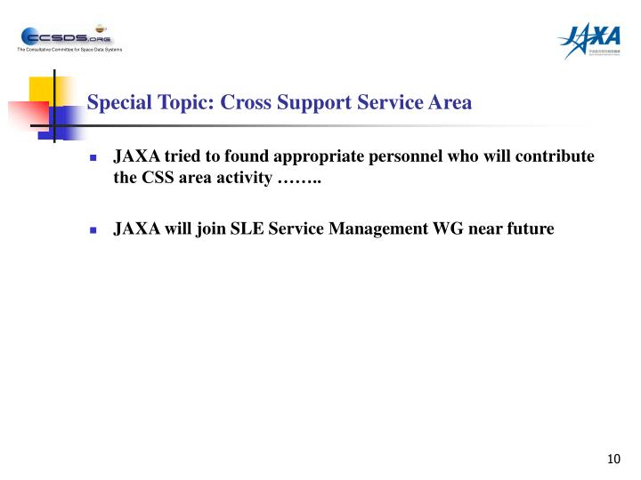 Special Topic: Cross Support Service Area