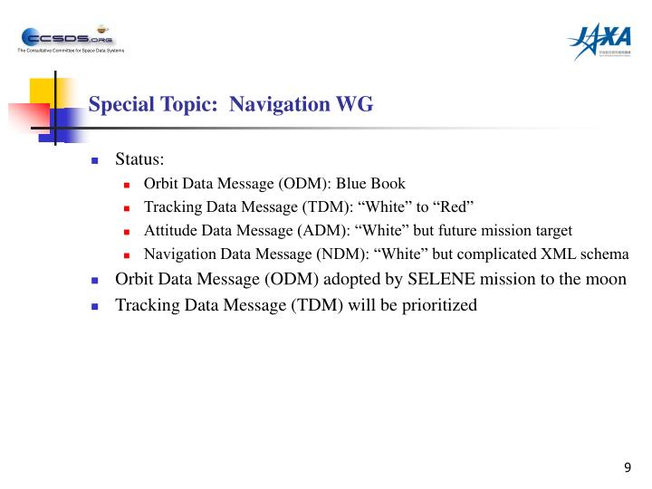 Special Topic:  Navigation WG