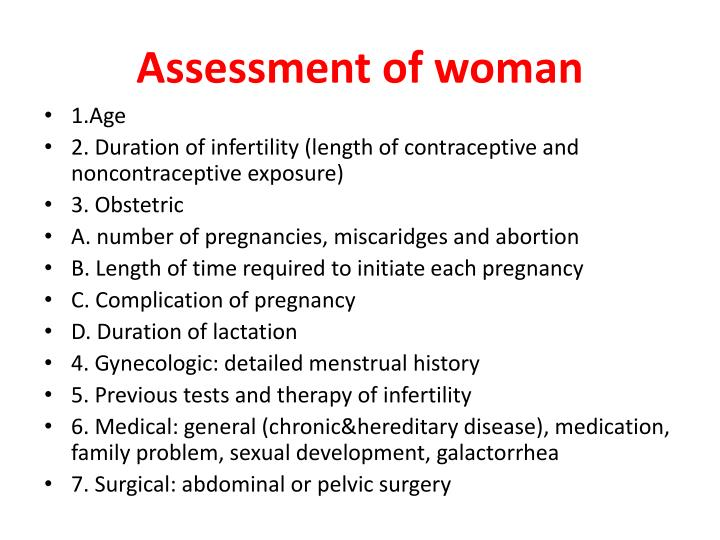 Assessment of woman