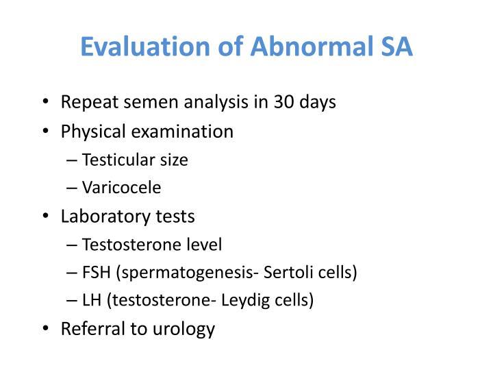 Evaluation of Abnormal SA