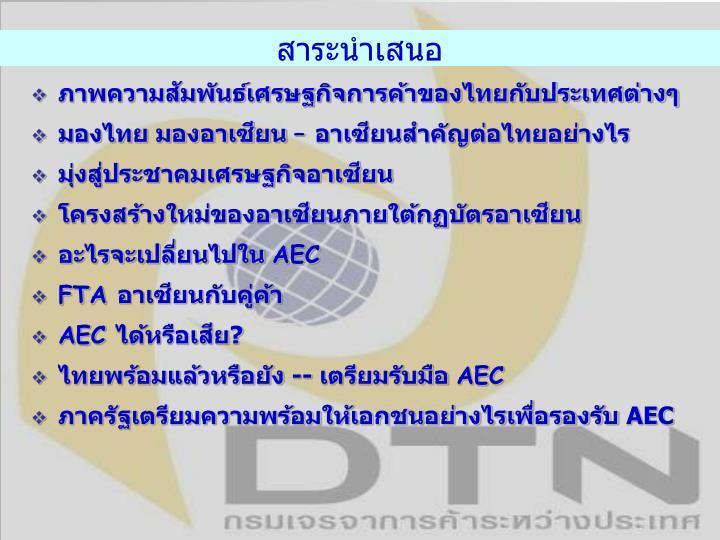 ภาพความสัมพันธ์เศรษฐกิจการค้าของไทยกับประเทศต่างๆ