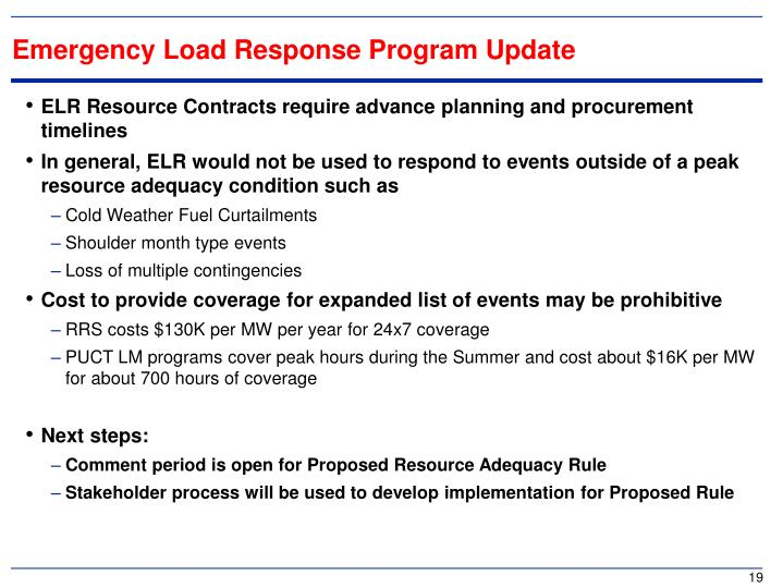 Emergency Load Response Program Update