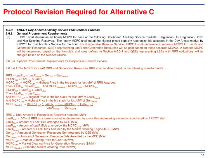 Protocol Revision Required for Alternative C