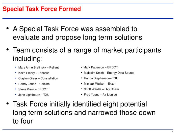 Special Task Force Formed