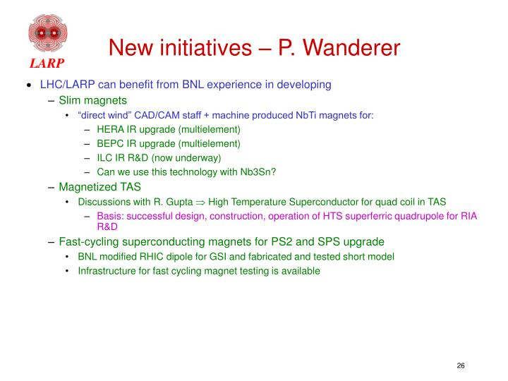 New initiatives – P. Wanderer