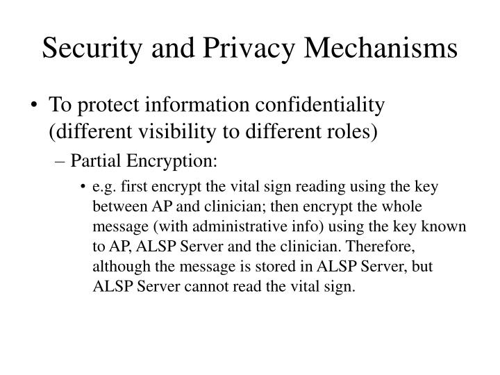 Security and Privacy Mechanisms