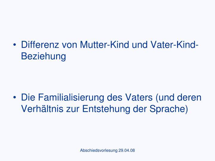 Differenz von Mutter-Kind und Vater-Kind-Beziehung