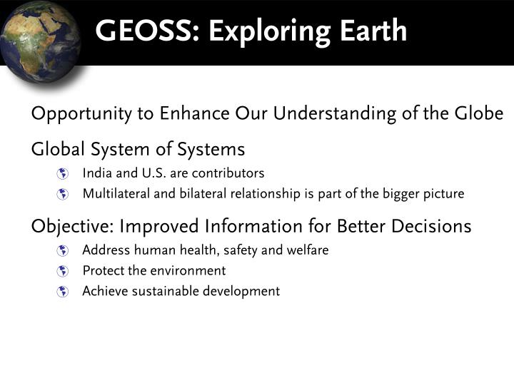 GEOSS: Exploring Earth