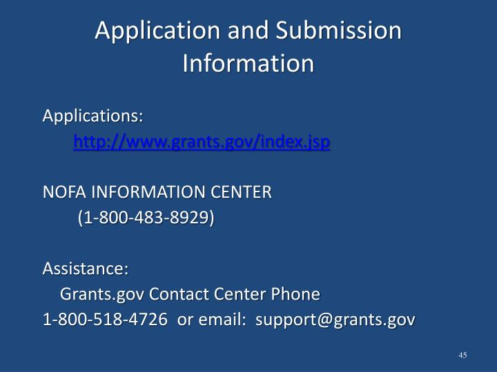 Application and Submission Information