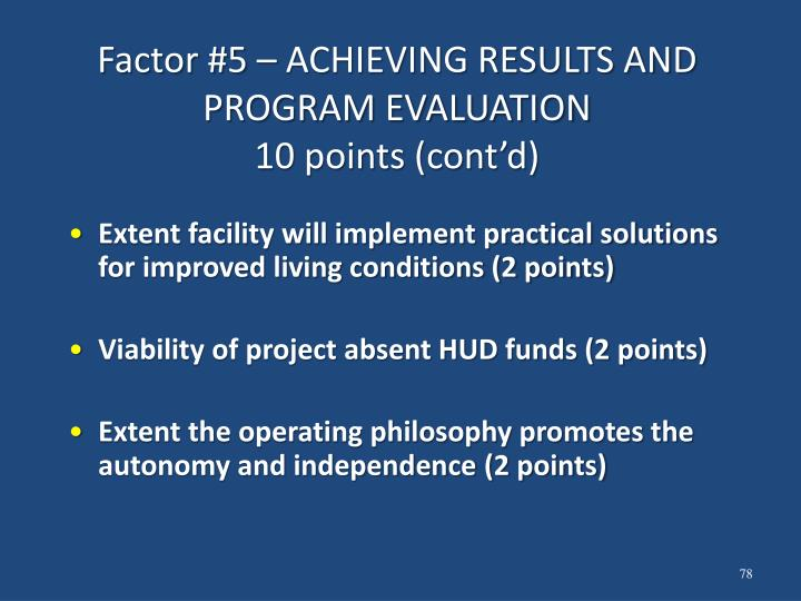 Factor #5 – ACHIEVING RESULTS AND PROGRAM EVALUATION