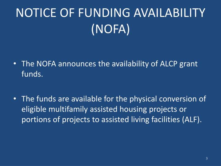 NOTICE OF FUNDING AVAILABILITY (NOFA)