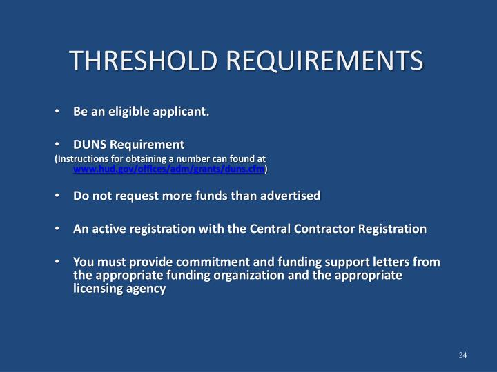 THRESHOLD REQUIREMENTS