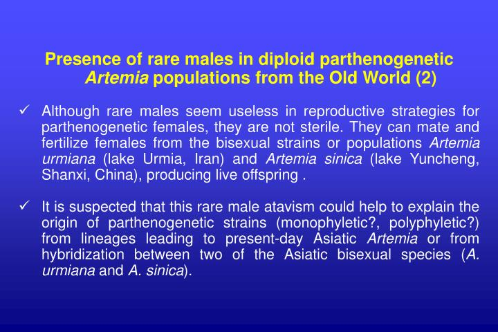 Presence of rare males in diploid parthenogenetic