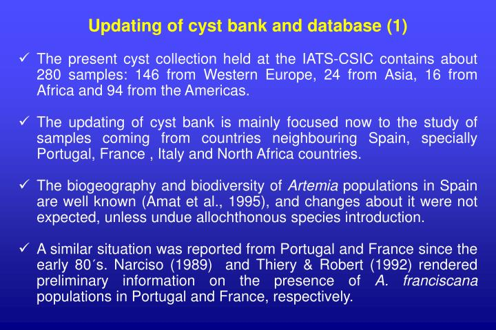 Updating of cyst bank and database (1)