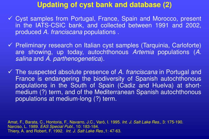 Updating of cyst bank and database (2)