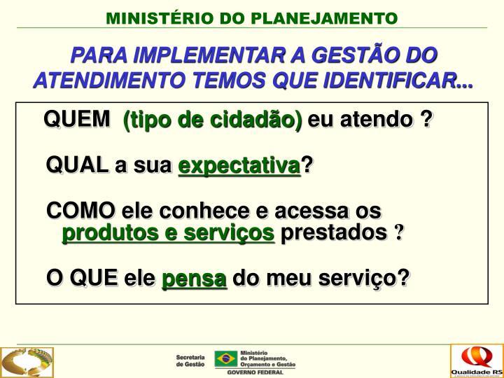 PARA IMPLEMENTAR A GESTÃO DO ATENDIMENTO TEMOS QUE IDENTIFICAR...