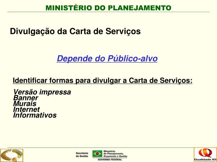 Identificar formas para divulgar a Carta de Serviços: