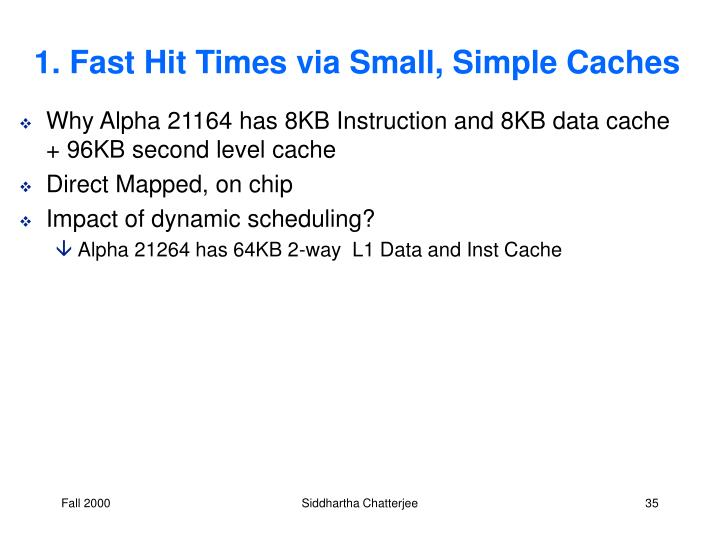 1. Fast Hit Times via Small, Simple Caches