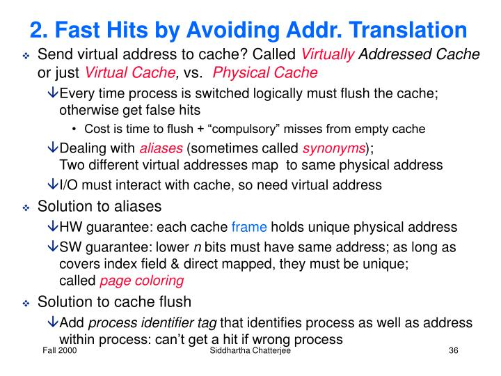 2. Fast Hits by Avoiding Addr. Translation