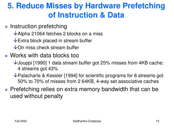 5. Reduce Misses by Hardware Prefetching of Instruction & Data