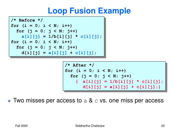 Loop Fusion Example