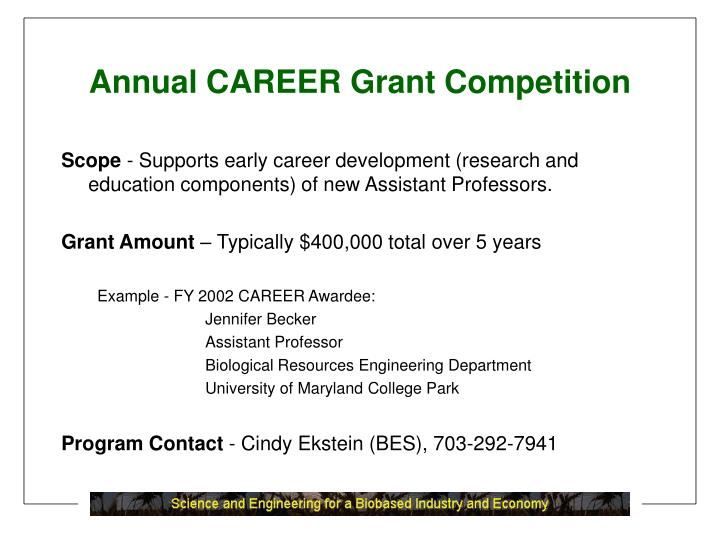 Annual CAREER Grant Competition