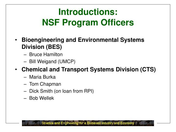 Introductions nsf program officers