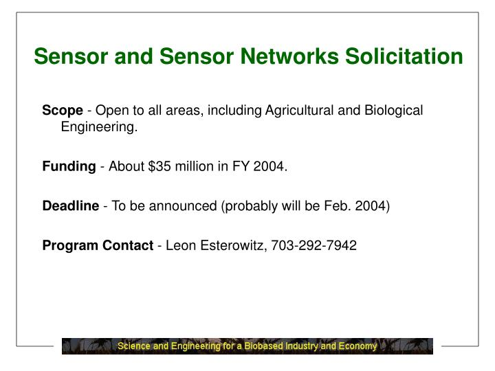 Sensor and Sensor Networks Solicitation