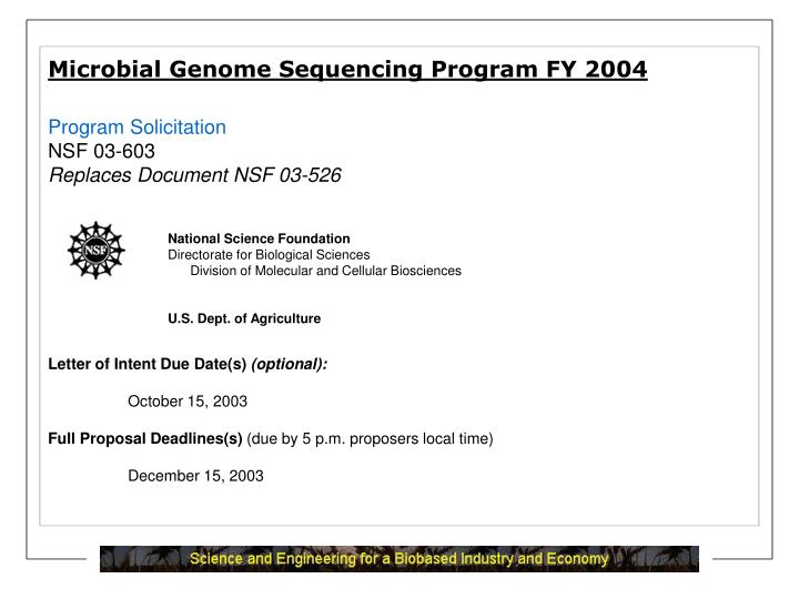Microbial Genome Sequencing Program FY 2004